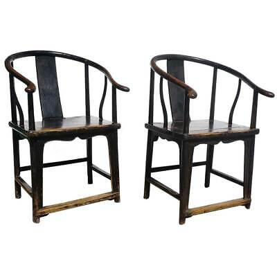 Pair Antique Chinese Qing Black Lacquered Elmwood Oxbow Armchairs