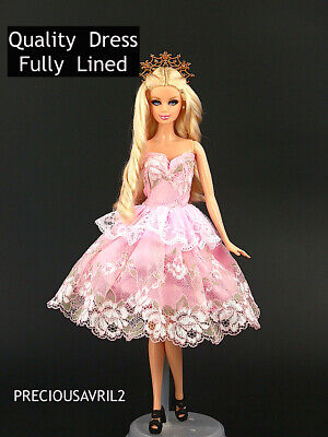 Brand new barbie doll clothes clothing outfit party dress gown pink lace evening