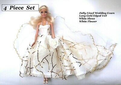 Brand new Barbie doll clothes outfit princess wedding evening gold sequins