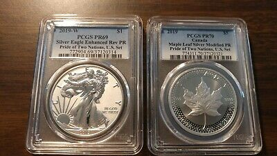 2019 Pride of Two Nations Silver Eagle Maple PR69/70 PCGS Blue Label IN HAND
