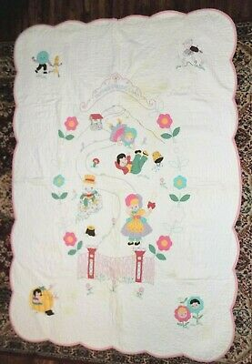 """Vintage Mother Goose Hand Sewn Embroidered Quilt 46"""" x 66"""" Child or Baby Size"""