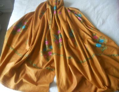 Vintage Tan Kashmir Cashmere Wool Shawl Pink Blue Green Flower Embroidery