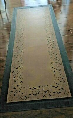 "Floorcloth 30""X6' ""SERENADE"" Beautiful Hand-Painted Runner Primitive Colonial"