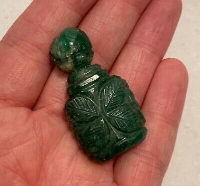 Antique 19th c. Hand Carved Chinese Spinach Green Jade Miniature Snuff Bottle