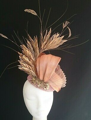 Nude Blush Gold Feathers Flowers Fascinator Silk Loops Hat Wedding Melbourne Cup