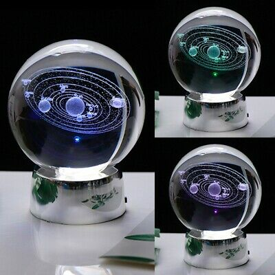 Engraved Solar System Ball 3D Miniature Planets Model Sphere Crystal Ball