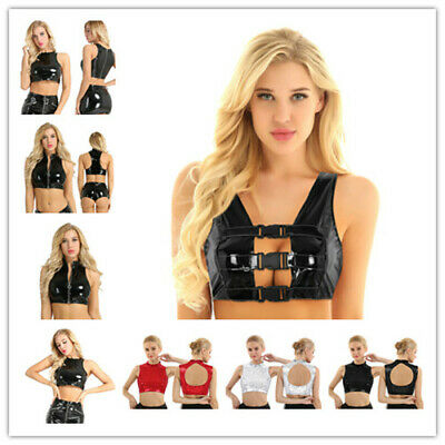 Women Sexy Crop Top Clubwear Dance Party Tank Tops Camisole Vest Blouse T-shirts