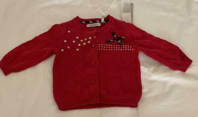 IKKS Baby Girls 3m red top cardigan with loads of detail - NWT