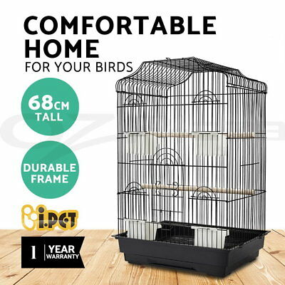 Medium 68CM Pet Bird Cage Parrot Canary Aviary Pets Stand Budgie Finch Perch