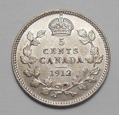 1912 Five Cents Silver VF-EF ** HIGH Grade Early King George V Canada Half Dime