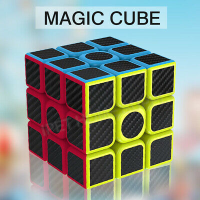 3x3x3 Smooth Speed Magic Rubiks Cube Puzzle Easy Twist Carbon Fiber Toys
