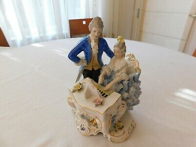 Big Antique Germany Dresden Porcelain Figurine a Gentleman and a Lady