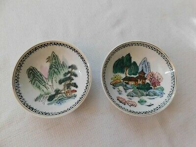 Pair of Antique Chinese Hand Painted Porcelain Wall Hanging Plate 4""
