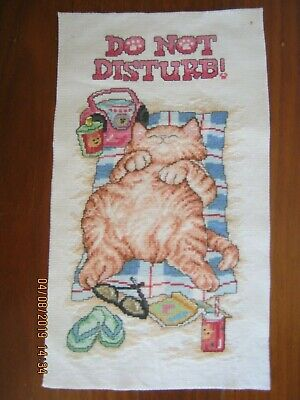 Completed Crossstitch Of Cat Relaxing To Frame Or Make Cushion  21 X 38Cms