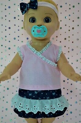 "Play n Wear Dolls Clothes For 17""Luvabella Doll PATTERN DENIM SKIRT~TOP~HEADBAND"