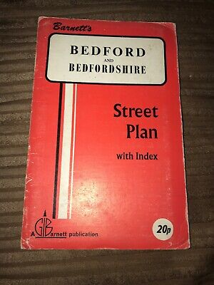 Barnett's Vintage Map Bedford And Bedfordshire Street Plan with index