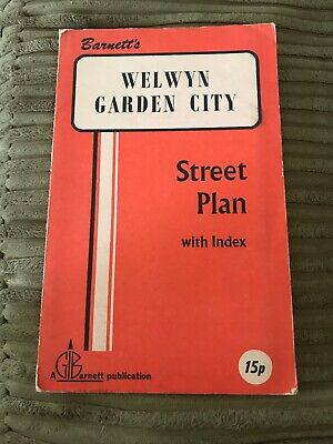 Barnett's Vintage Map Welwyn Garden City  Street Plan with index