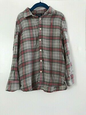 Polo Ralph Lauren Girls Button Checked Shirt Top 6 years Pink/Grey Authentic