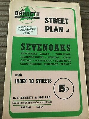 Barnett's Vintage Map Sevenoaks Weald Tonbridge  Street Plan with index