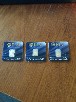 3 x 0.1g 999.9 fine Gold Bullion Bar. Solid pure gold for investment or gift.