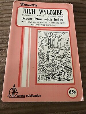 Barnett's Vintage Map High Wycombe Hazelmere Booker  Street Plan with index