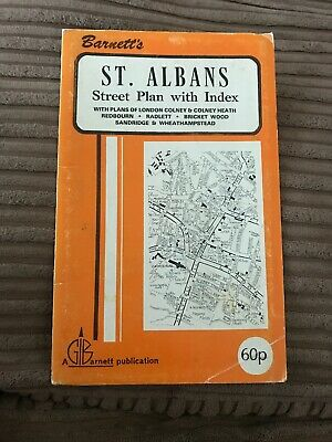 Barnett's Vintage Map St Albans London Conley Radlett  Street Plan with index