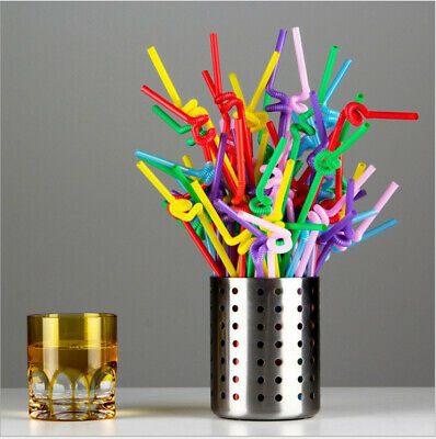 """100pcs Super Extra Bendy Long Drinking Straws Up to 12.61"""" Coloured Aid Disabled"""