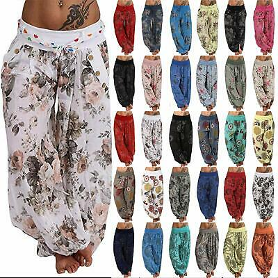 Womens Aladdin Gypsy Boho Floral Yoga Bloomers Pants Hippie Baggy Harem Trousers