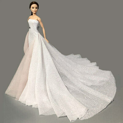 Beauty White 11.5 Inches High Fashion Wedding Dress for Doll Clothes Party Gown