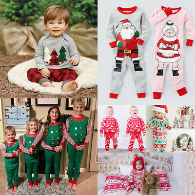 UK Christmas Toddler Baby Boy Girl Long Sleeve Top T-shirt Pants Outfits Clothes