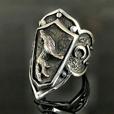 925 Sterling Silver Mens Ring Turk Ottoman Archers Thumb Ring Zihgir WOLF