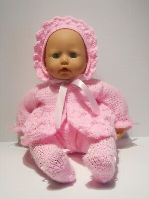 """Knitted Doll Pram Layette in Pink to fit 16""""- 18"""" ( 41 - 46 cm)"""
