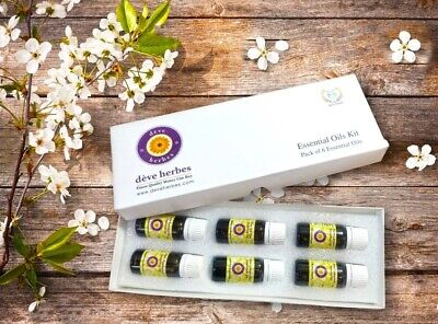 Natural Essential Oils Set of Six 10ml each (0.33 oz)