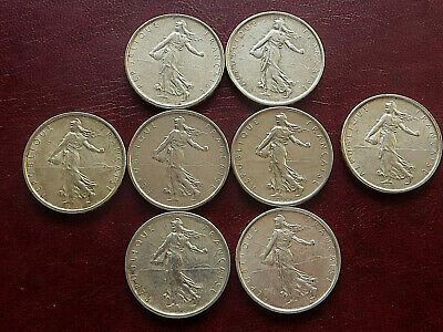 Beau Lot De 8 Pieces 5 Francs Semeuse Argent, Qualite Ttb/Sup