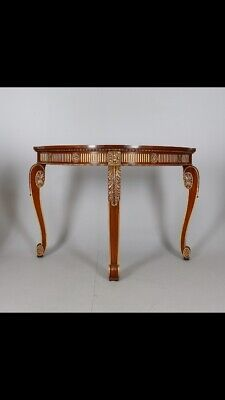 A Stained Wood & Parcel Gilt Console Table/Demi Lune Table