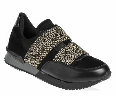 Womens Black / Gold Slip On Sneakers Pumps Ladies Trainers Comfy Shoes Sizes