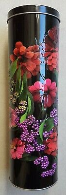 Collectable Biscuit or Lolly Tin (2014) - Tall Embossed - Black with Red Flowers