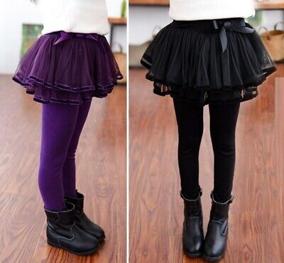 Girls Leggings With Lace Skirt Dancing Clothes Thick Winter Warm Trouser Pants