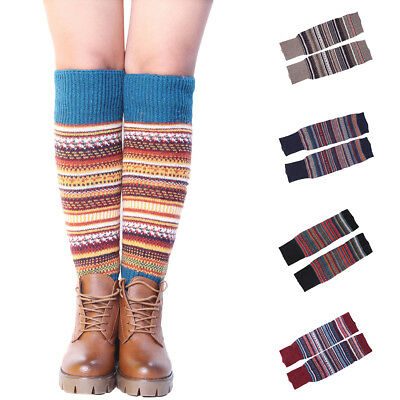 ALS_ PW_ FT- Women Striped Ethnic Knitting Wool Footless Leg Warmers Knee High B