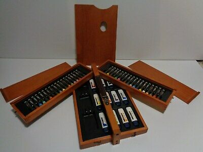 Clean Vintage Folding Artist-Box & Wood-Palette with Colors FREE SHIP