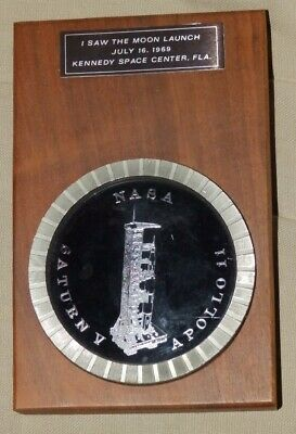 I SAW THE MOON LAUNCH july 16, 1969  plaquette commémorative Moon landing NASA