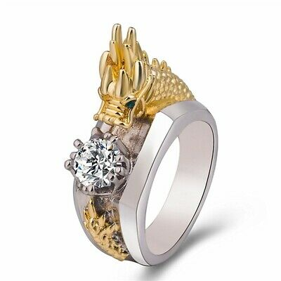 Cool Chinese Dragon Carved Men's 925 Silver White Topaz Ring Jewelry Party Gift