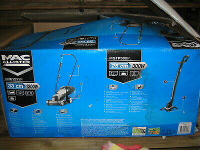 Job Lot Brand New Mac Alister Lawn Mower & Strimmer & Free Garden Tools No Resrv