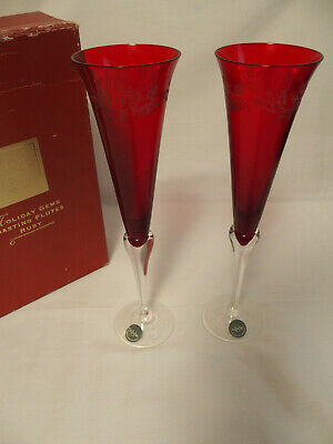 Lenox Stemware Holiday Gems Toasting Flutes Ruby Red Etched Set of 2  NOS ~ 1998