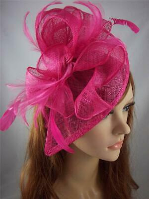 Fuchsia Pink Teardrop Sinamay Fascinator with Feathers - Occasion Wedding Races