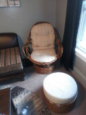 Beautiful Bamboo Rocking Chair With Foot Stool