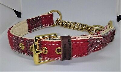Red Harris tweed Martingale dog collar with Solid brass hardware & chain