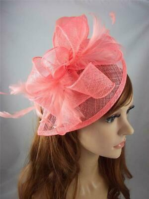 Coral Pink Teardrop Sinamay Fascinator with Feathers - Occasion Wedding Races