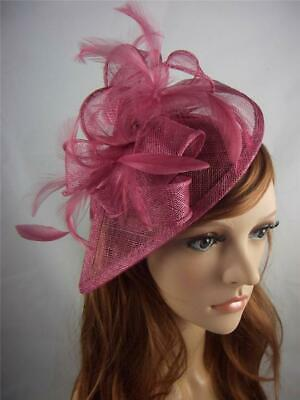 Wine Pink Teardrop Sinamay Fascinator with Feathers - Occasion Wedding Races