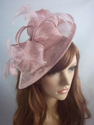 Heather Pink Teardrop Sinamay Fascinator with Feathers - Occasion Wedding Races